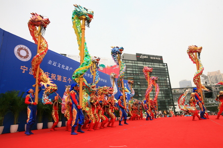 china people: View of dragon dance performance on stage