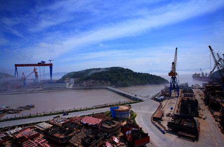 shipyard: View of a shipyard in Zhejiang, China