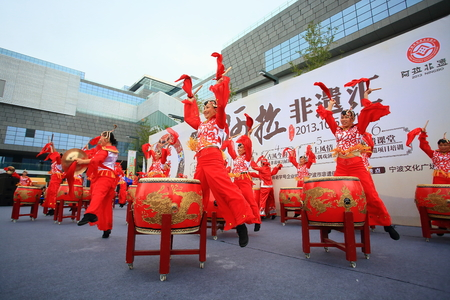 chinese drum: Drum performances at a cultural heritage exhibition