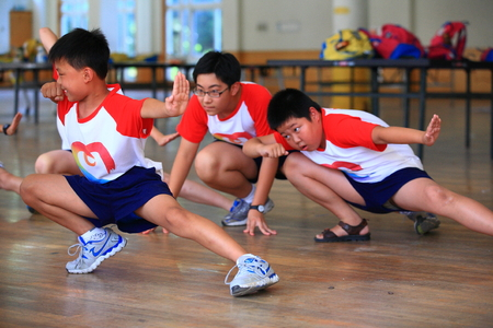 boys only: Students learning martial arts