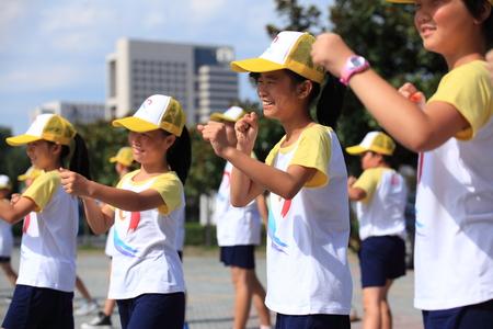 sports attire: Students training punching