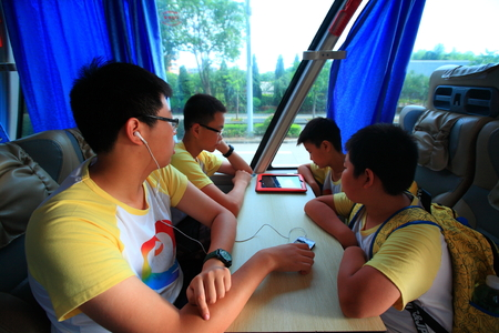 four person only: Students in the bus