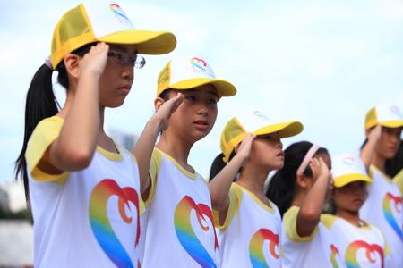 saluting: Students saluting