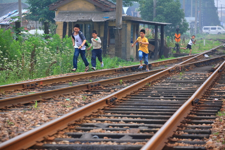 10 11 years: Boys playing at railway tracks Editorial