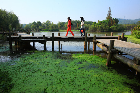 china people: Two women walking on the stilt bridge over the lake Editorial