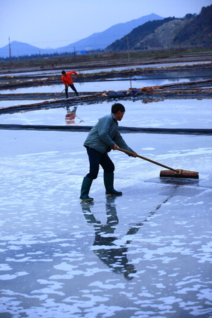 two person only: Man working in a salt evaporation pond Editorial