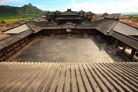 chinese courtyard: Aerial view of an empty traditional Chinese courtyard