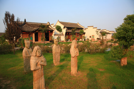 local landmark: Ancient statues outside in the museum park