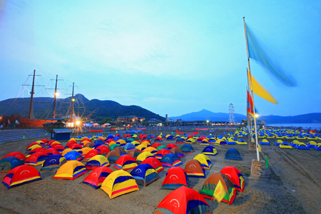 camping site: Camping site on the beach
