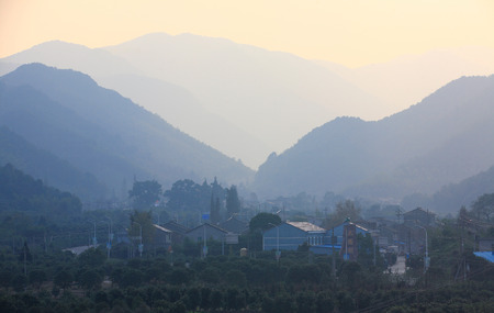 rural town: Rural town of Yinzhou from distant Editorial