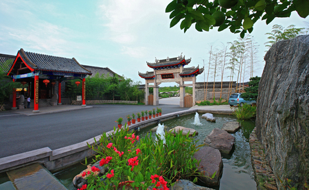 only two people: Entrance of Yinzhou Siming Mountain Resort