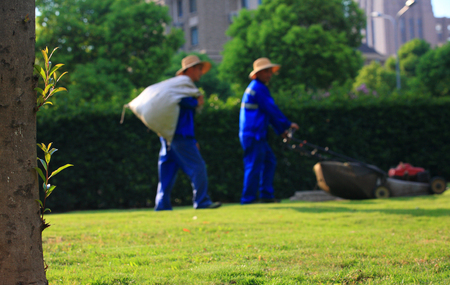 two person only: Men mowing grass in the park Stock Photo