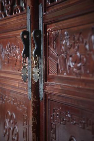 door knob: Door knob of a traditional wooden door