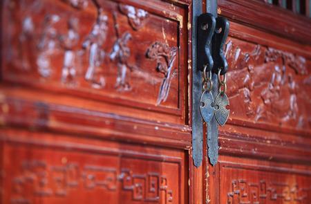 door knob: Door knob of traditional wooden door Stock Photo