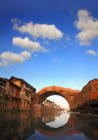 local landmark: Stone bridge over the river in Yinzhou district