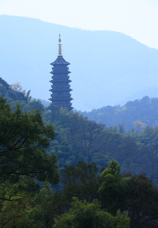the distance: A pagoda in a distance