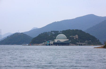 dome building: A huge dome building by the water