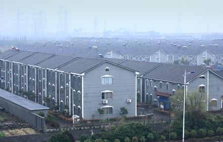 haze: Residential area in haze Editorial