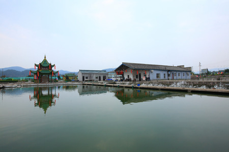 fish pond: Fish pond by the buildings