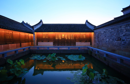 seventeen: Exterior view of a traditional building in Zheng seventeen courtyard Editorial