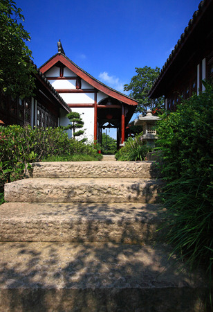 accommodation: Stairs to an accommodation in Huacheng New Century Resort