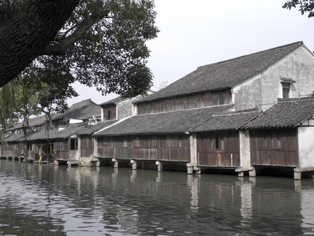 Canal and folk houses in ancient town of Wuzhen photo