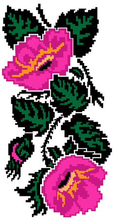 Color  image of flowers (poppies) using traditional Ukrainian embroidery elements. Can be used as pixel-art.