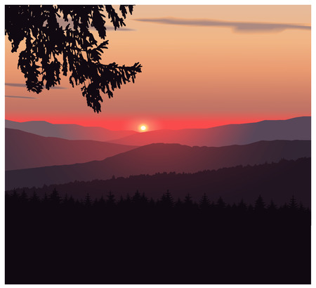Panorama of mountains. Silhouette of mountains and coniferous trees on the background of colorful sky. Sunset.