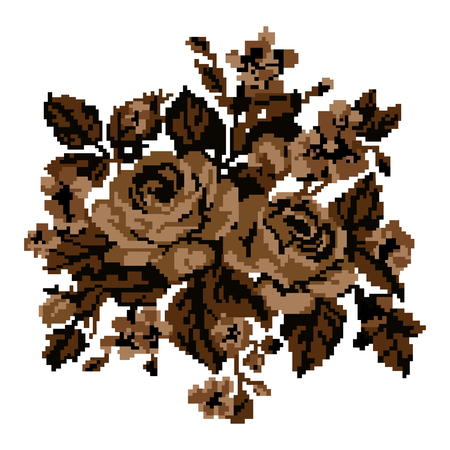 pixelart: Bouquet of flowers (roses and cornflowers) using traditional Ukrainian embroidery elements. Sepia. Can be used as pixel-art.
