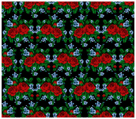 ukrainian traditional: Seamless. Pattern. Color bouquet of flowers (roses and cornflowers)on the black background using traditional Ukrainian embroidery elements. Can be used as pixel-art, card, emblem, icon. Illustration