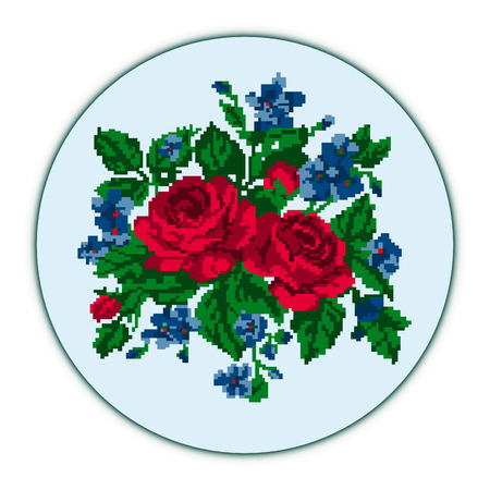 Color bouquet of flowers (roses and cornflowers)on the blue background using traditional Ukrainian embroidery elements. Can be used as pixel-art, card, emblem, icon. Illustration