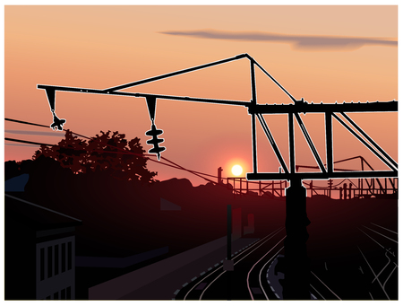high speed rail: Sunset. City. Railway station. Silhouette of metallic constructions.
