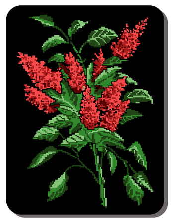 pixelart: Red bouquet of flowers (bloom of lilacs) on the black background using traditional Ukrainian embroidery elements. Can be used as pixel-art.