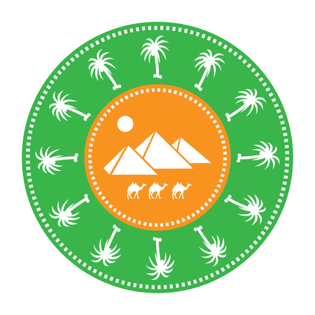 Circle image icon with silhouette of egyptian pyramids, camels, palm trees.