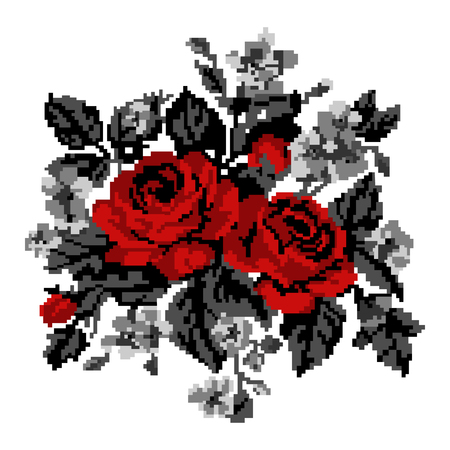 Color bouquet of flowers (roses and cornflowers) in red and grey tones using traditional Ukrainian embroidery elements.  Can be used as pixel-art, card, emblem, icon. Illustration