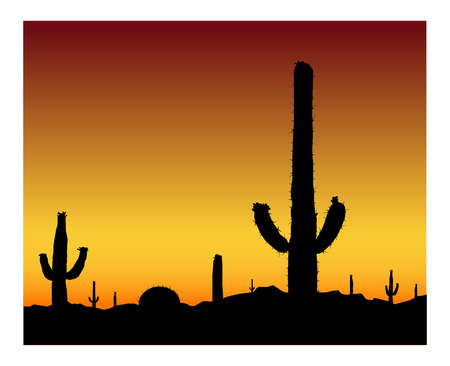 Silhouette of blooming cactuses on the background of desert. Brown and yellow sky. Illustration