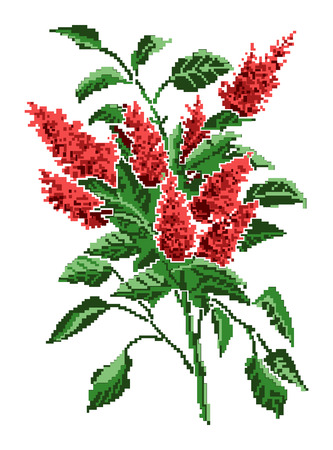 Color  bouquet of flowers (brown bloom of lilacs) using traditional Ukrainian embroidery elements.Can be used as pixel-art. Illustration