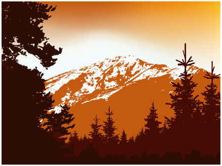 Panorama of mountains. Silhouette of mountains with snow and coniferous trees. Orange and brown tones.
