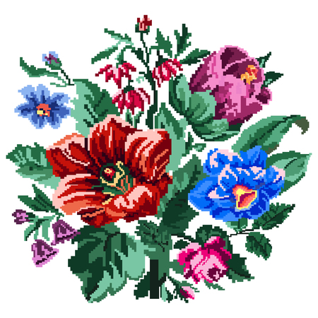 Color bouquet of wildflowers (lilia, bellflower, barberry flower, rose and cornflowers)  using traditional Ukrainian embroidery elements. Can be used as pixel-art.