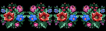 Color bouquet of wildflowers (lilia, bellflower, barberry flower and cornflowers) on the black background using traditional Ukrainian embroidery elements.