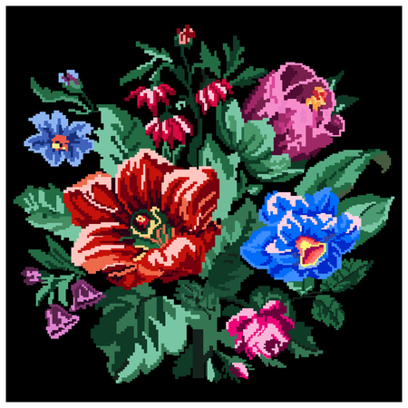 pixelart: Color bouquet of wildflowers (lilia, bellflower, barberry flower, rose and cornflowers) on the black background using traditional Ukrainian embroidery elements. Can be used as pixel-art.