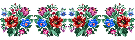 pixelart: Color bouquet of wildflowers (lilia, bellflower, barberry flower and cornflowers)  using traditional Ukrainian embroidery elements. Can be used as pixel-art. Border pattern. Illustration
