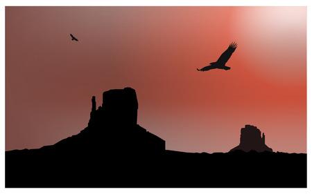 eagle canyon: Landscape background. Western desert. Rocks. Flying eagles. Red sky.