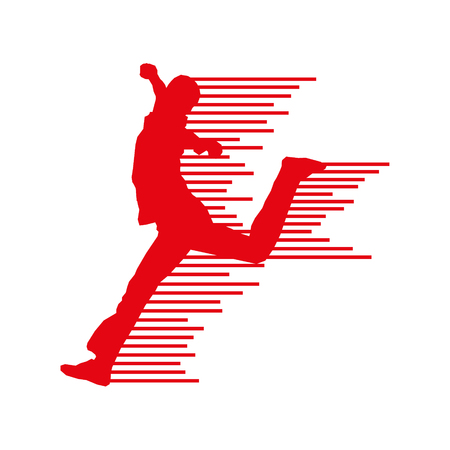 Image red silhouette of winner man.
