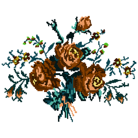 ukrainian traditional: Color bouquet of flowers (roses and cornflowers) in brown and blue tones using traditional Ukrainian embroidery elements.  Can be used as pixel-art, card, emblem, icon. Illustration