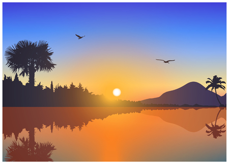 Image  landscape. Sunset on exotic island with volcano and palms. A birds on the background of colorful sky . Blue and yellow tones. Illustration