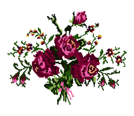 Color bouquet of flowers (roses and cornflowers) in violet and green tones using traditional Ukrainian embroidery elements.  Can be used as pixel-art, card, emblem, icon.