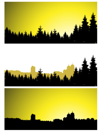 Three  panoramic banners of city and coniferous forest.  Yellow and black tones. Illustration