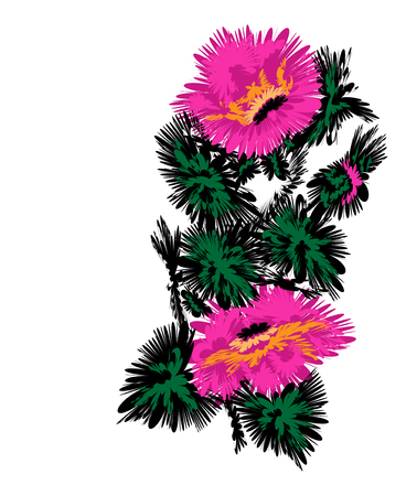 ukrainian traditional: Color abstract image of flowers (poppies) using traditional Ukrainian elements.