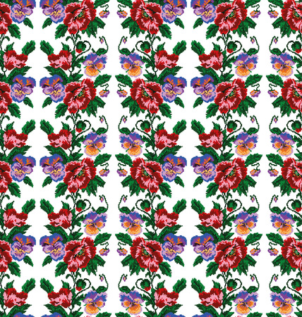 pixelart: Color  bouquet of flowers (poppies and pansies) using traditional Ukrainian embroidery elements. Seamless pattern. Can be used as pixel-art.